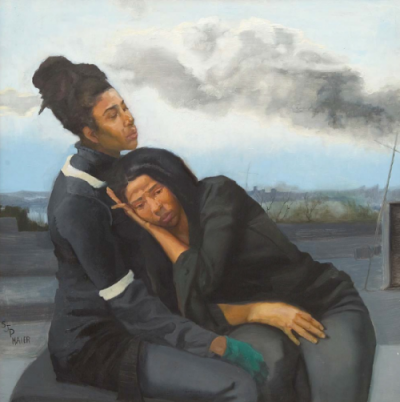 Mourning-Twins-oil-on-wood-by-Sylvia-Maier-650x653